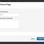 Screen shot of dialog box for creating top-level project page.