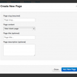 Screen shot showing dialog box for creating a new page.